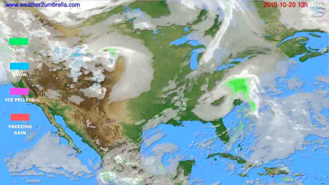 Precipitation forecast USA & Canada // modelrun: 00h UTC 2019-10-19