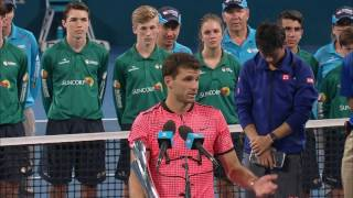 Trophy presentation to Grigor Dimitrov after winning the Men's Singles at the Brisbane International 2017.