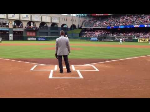 Nolan Ryan's ceremonial first pitch was juuuust outside
