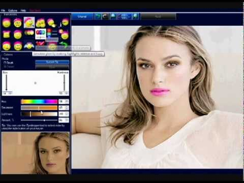 PhotoInstrument tutorial - How to have Glamour Makeup, Milk Chocolate Skin And Shiny Hair