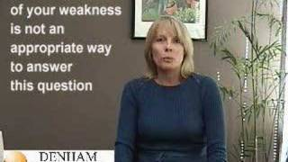 A woman, interviewing for an Administrative Office position, answers the common interview question: Tell me about a weakness you have. This is an example of ...