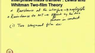 Mod-02 Lec-06 Interphase Mass Transfer and Mass Transfer Theories Part I
