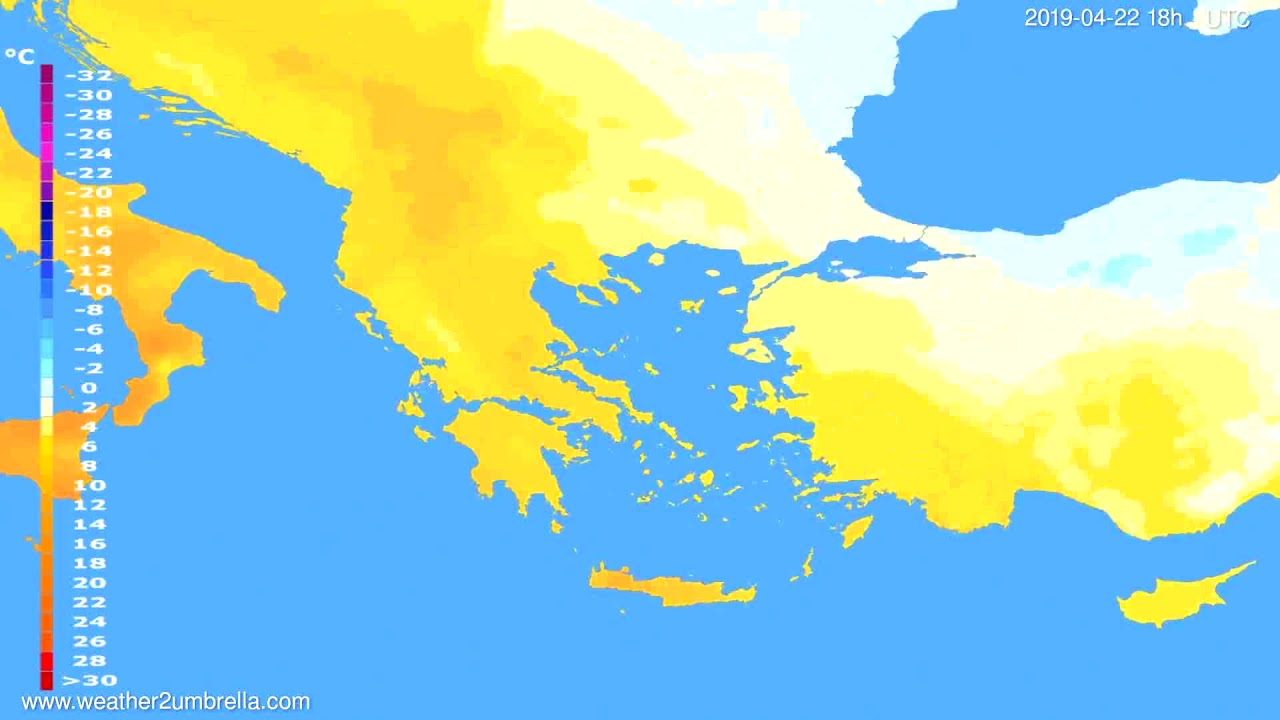 Temperature forecast Greece // modelrun: 12h UTC 2019-04-19