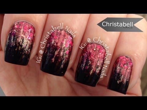 nail art - glitter effetto cascata