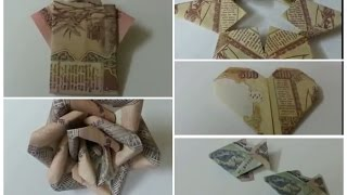 5 ● Simple and Easy Money Origami Rose Flower, Fish, Heart,Shirt,Star/ How to Make Money Origami .