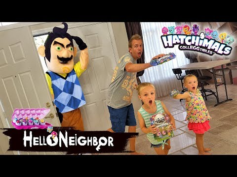 Hello Neighbor in Real Life Statues! Hatchimals CollEGGtibles Toy Scavenger Hunt!!! (видео)