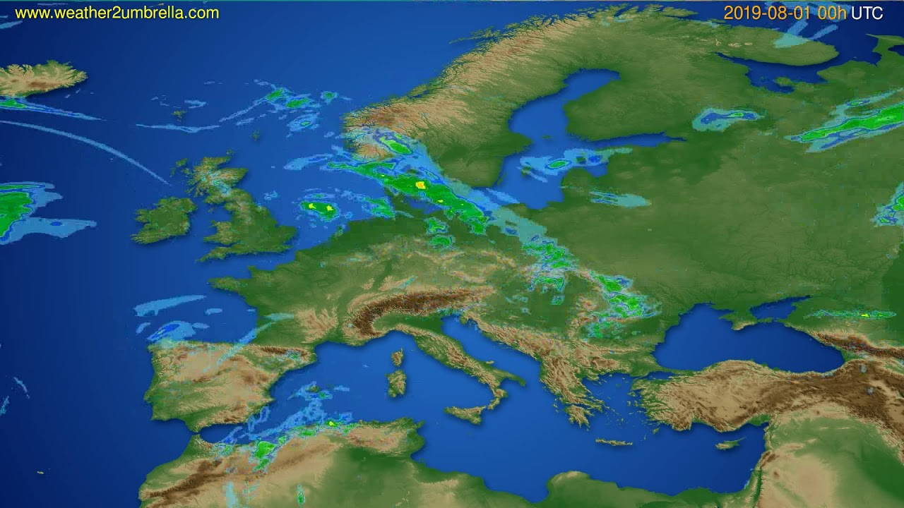 Radar forecast Europe // modelrun: 12h UTC 2019-07-31