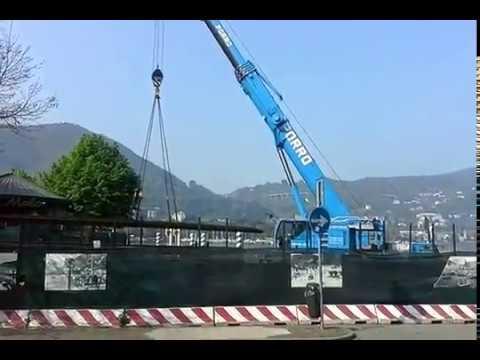 Via ai lavori sul lungolago: ecco la grossa gru a Sant'Agostino