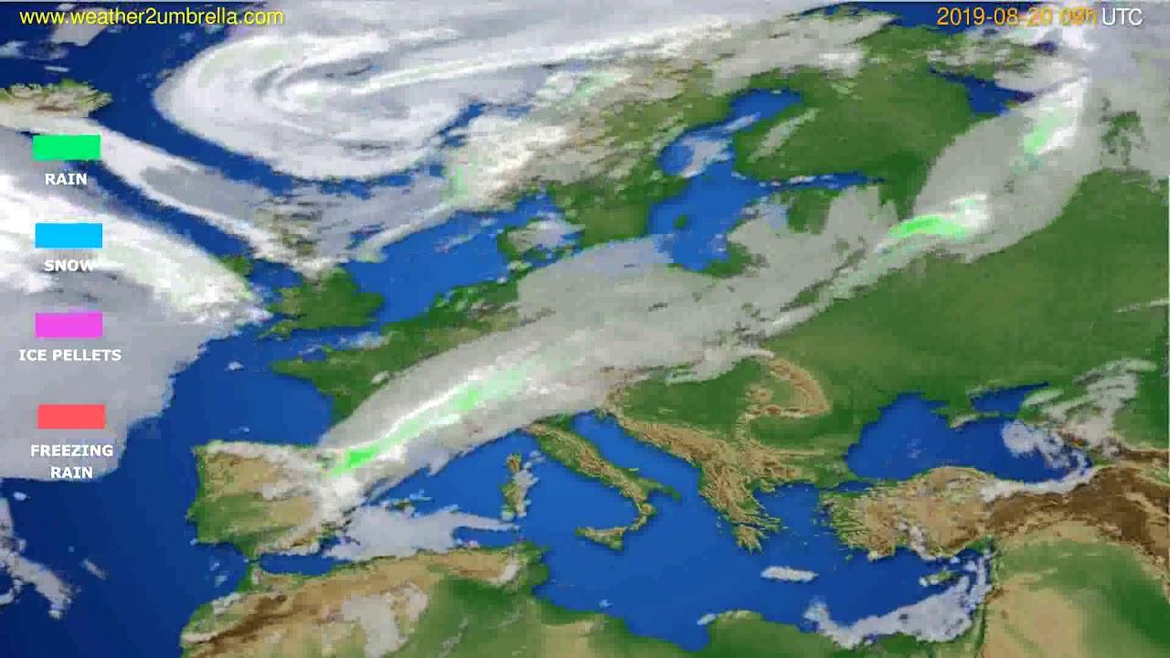 Precipitation forecast Europe // modelrun: 12h UTC 2019-08-18