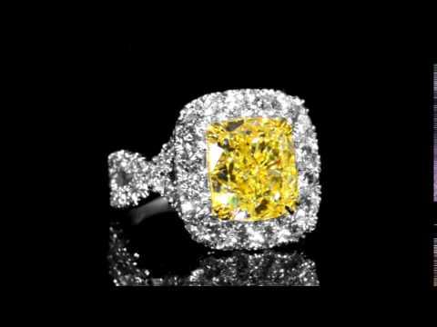 EGL Certified 5.90ct Cushion Cut Fancy Intense Yellow Diamond Ring