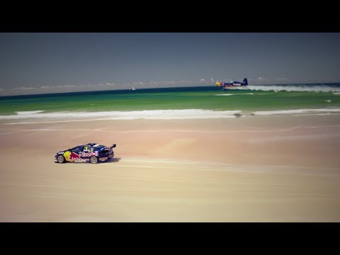 V8 Supercar vs. Airplane race on an Australian beach