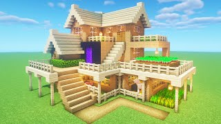 """Minecraft Tutorial: How To Make A Ultimate Wooden Survival House """"2020 Tutorial"""""""