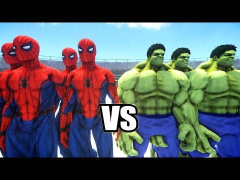 SPIDERMAN CIVIL WAR SUIT ARMY VS HULK ARMY - EPIC BATTLE ( Grand Theft Auto IV )