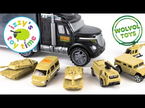 WolVol Military Transport Car Carrier Truck and Hot Wheels Fire Station | Cars for Kids