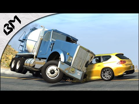 BeamNG Drive - CAMION VS VOITURE CRASH-TEST - Bridge Destruction
