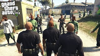 COPS CONFRONT A GANG IN THEIR NEIGHBORHOOD IN GTA 5!!! (GTA 5 REAL LIFE PC MOD)
