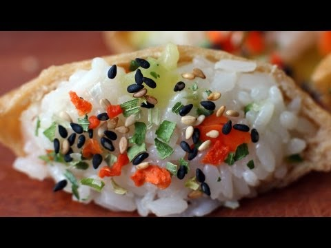 Korean Recipe: How to make Fried Seasoned Tofu Pockets Stuffed with Rice and Vegetables – Yubuchobap – 유부초밥