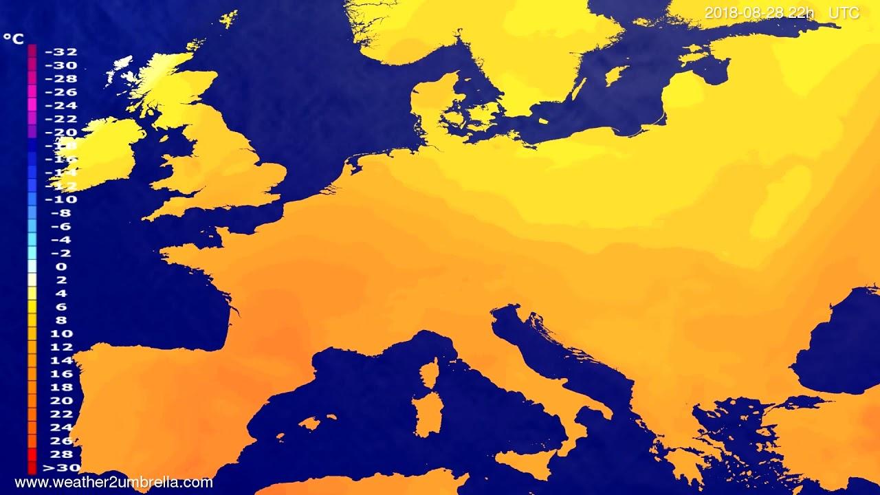 Temperature forecast Europe 2018-08-26