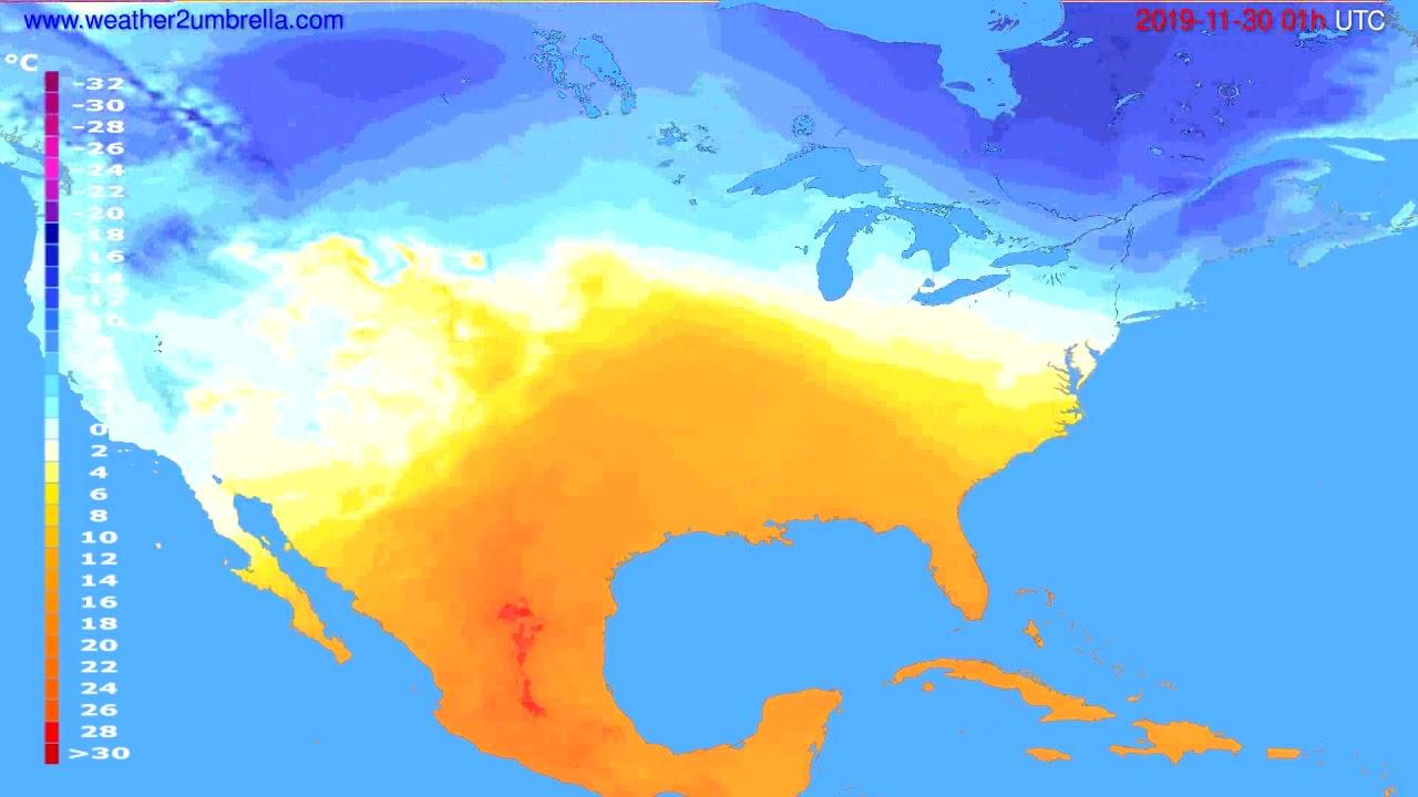 Temperature forecast USA & Canada // modelrun: 12h UTC 2019-11-28