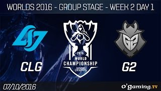 CLG vs G2 - World Championship 2016 - Group Stage Week 2 Day 1