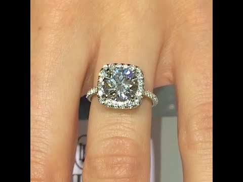 2.00 ct Round cut Diamond Engagement Ring in Cushion Halo Cathedral Band