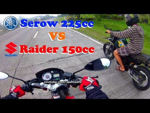 Yamaha Serow 225 vs Suzuki Raider 150 drag racing