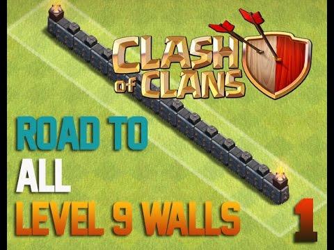 Clash of Clans - Road To All Level 9 Walls 1 - Farmando e Upando Muros (видео)