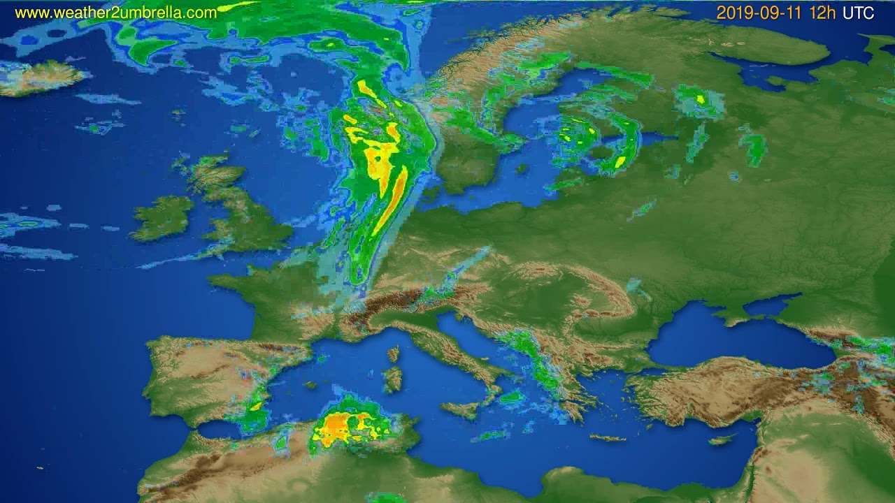 Radar forecast Europe // modelrun: 00h UTC 2019-09-11