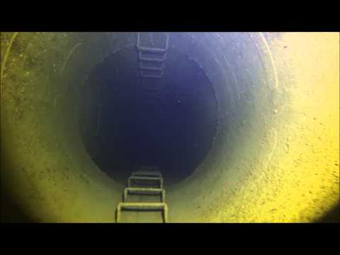 Down the turbine exhaust on the Ex HMAS Canberra