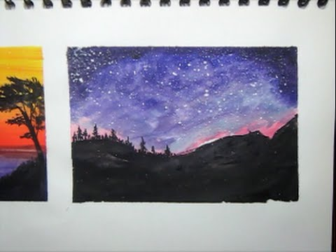 Como Pintar Anochecer Con Acuarelas / Painting Nigth With Watercolours / Speed Drawing