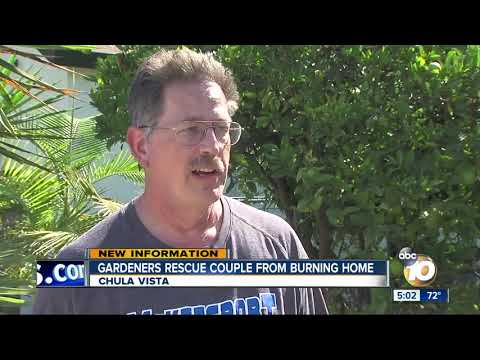 Gardners rescue couple from burning home