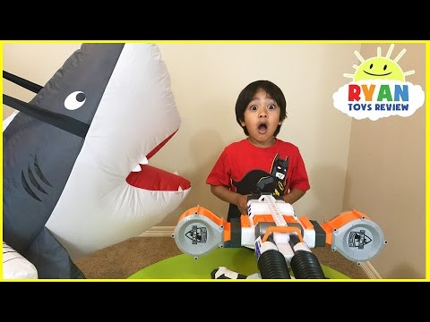 Giant Shark Pretend Play Chasing and Hide and Seek with Ryan ToysReview