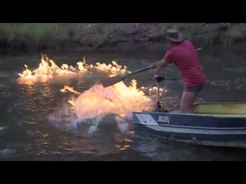 A River On Fire Gas explodes from Australian river near fracking