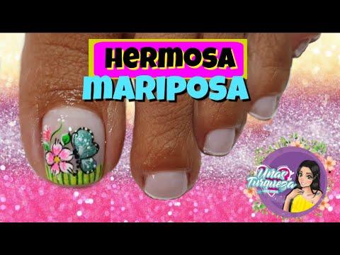 Diseños de uñas - Diseño de Uñas Mariposa/Decoracion uñas pies Mariposa/como realizar una mariposa en uñas