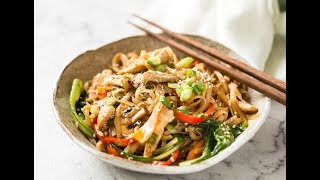 Terrific pantry meal - dig into your vegetable crisper and use what you have! http://www.recipetineats.com/chicken-stir-fry-with-rice-noodles/