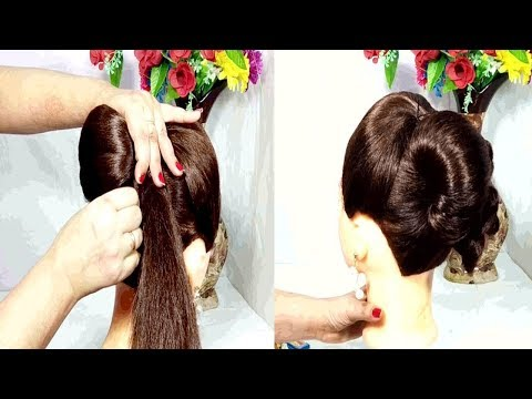 Easy french bun hairstyle using clutcher  french roll hairstyle  easy hairstyles  Hair Style Girl