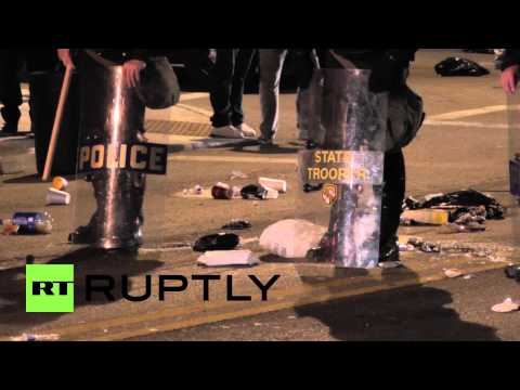 USA: National Guard, State Troopers, Humvees patrol Baltimore streets after curfew