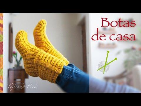 Tejer paso a paso: Botas de casa tejidas en dos agujas o palitos en punto choclo!