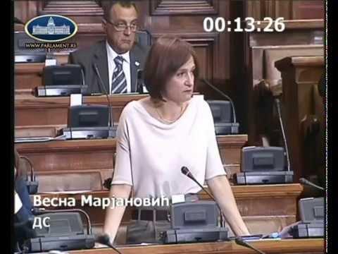 Весна Марјановић на седници Скупштине о изменама Закона о јавном информисању и медијима