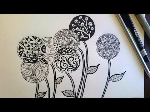 Zentangle Inspired Flowers/ Zendoodle Art / Beginner