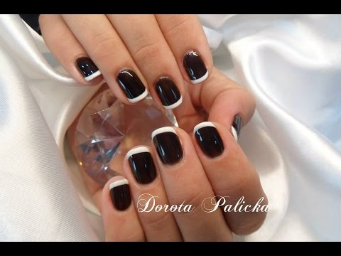 Black and white nail art, Basic french gel polish on natural nails by Dorota