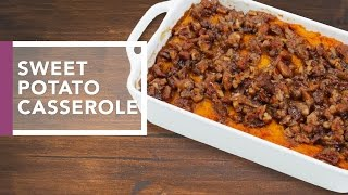 Sweet Potato Casserole with Pecan Streusel  | Thanksgiving Dinner 2016 by The Domestic Geek