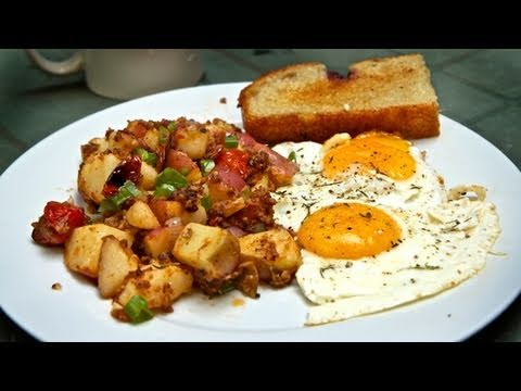 breakfast - Here's a classic, all-American, 'diner'-style breakfast: sunny-side-up eggs and a delicious potato hash. And don't forget to sign up for our new, weekly(ish)...