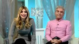 Holly nearly swears as Phil makes her jump! This Morning 8th February 2012