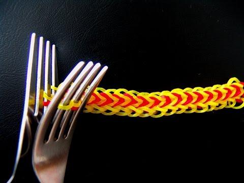 Как из резинок сделать браслет на вилок видео