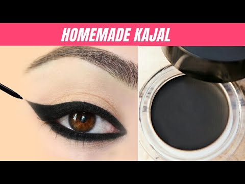 HOW TO MAKE KAJAL or EYELINER at home without Beeswax, Charcoal - Smudge Free, Long Lasting, Black
