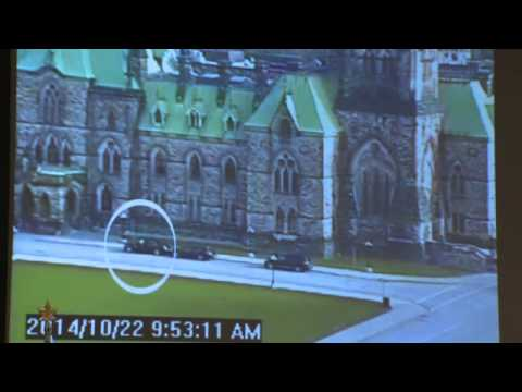 footage - RCMP Commissioner Bob Paulson walked through security camera footage of the Parliament Hill shooter from multiple angles from Wednesday's attack.