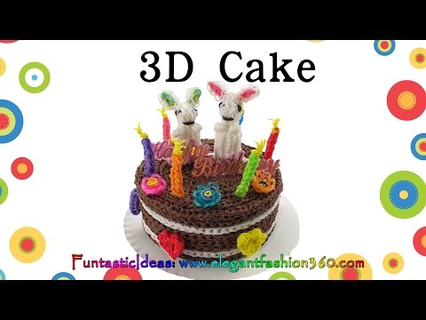 Rainbow Loom 3D cake 6″ Live Size – How to loom bands tutorial