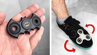 FIDGET SPINNER DO BATMAN E MANOBRA IMPOSSÍVEL COM O PÉ!! HandSpinner Tricks Freestyle Spinners Comp