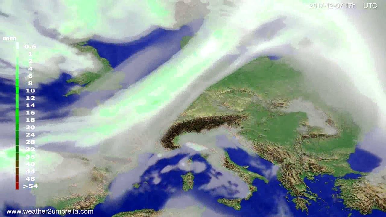 Precipitation forecast Europe 2017-12-05